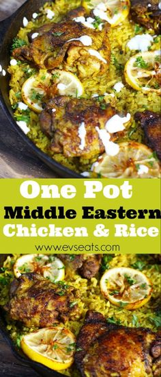 easy one pot meals A flavorful Middle Eastern Chicken made with seasoned turmeric rice all in one pot! Fuss free this middle eastern chicken is super easy to make. Middle Eastern Chicken, Middle Eastern Dishes, Middle Eastern Recipes, Lebanese Recipes, Indian Food Recipes, Ethnic Recipes, Mexican Recipes, Vietnamese Recipes, Middle East Food