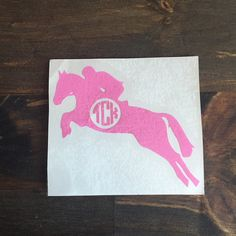 Custom Monogrammed Horse Riding Decal, Equestrian decal