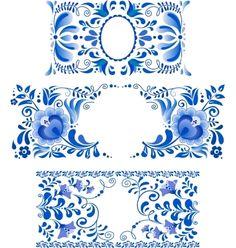 Russian+ornaments+art+frames+in+gzhel+style+vector+1082303+-+by+art_of_sun on VectorStock®