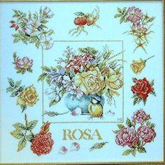 Marjolein Bastin ROSES Floral Marjolein Bastin, Cross Stitching, Artists, Floral, Image, Embroidery, Kunst, Flowers, Flower