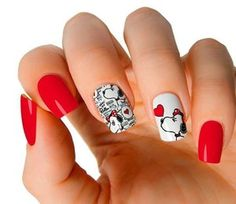 Fancy Nails, Cute Nails, Pretty Nails, Valentines Design, Valentines Day, Disney Acrylic Nails, Charlie Brown And Snoopy, Fabulous Nails, Nail Care
