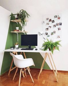 Home office inspiration with scandinavian desk and chair, green and white wall, . - Home Office Inspiration - Modern Office Decor, Home Office Decor, Modern Home Office Paint, Wood Office Ideas, Home Office Paint Ideas, Modern Wall Paint, Geometric Wall Paint, Retro Office, Office Themes