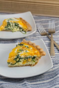 Baby Spinach and Cheddar Quiche Store-bought frozen deep dish pie shell 2 tablespoons extra-virgin olive oil 2 cloves garlic, minced 1 tablespoon shallot, minced 4 ounces baby spinach Freshly grated nutmeg, to taste Kosher salt and freshly cracked black pepper, to taste 5 large eggs 3/4 cup milk 1 cup shredded cheddar cheese