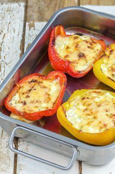 gefüllte Paprika mit Hüttenkäse