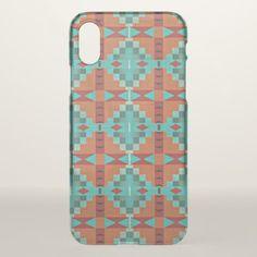 Red Orange Turquoise Teal Mosaic Art Pattern IPhone X Case