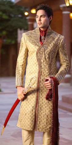 """Its just not the bride, but the groom too who looks his best.We have a collection of """"sherwani for groom"""" to choose from for their D-DAY.Look your best. Men's Fashion, Indian Men Fashion, Men Fashion Show, Mens Fashion Suits, Fall Fashion Outfits, Fashion Styles, Swag Style, Style Casual, Moda India"""