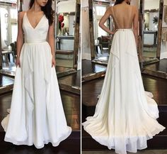Beautiful Handmade White Chiffon V-neckline Straps Party Dresses, Long Chiffon Prom Dresses, Lovely Prom Gowns