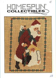 Santa whispering and standing beside a sleeping girl. The border is a green and red design. by Homespun Collectibles. Counted Cross Stitch Pattern. Stitch count : 53W x 77H. Santa - 22. Out of Print. | eBay!