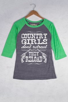 Dark Athletic Heather/Simply Green - Women's Country Girl® Reload Baseball Tee | Our Women's Vintage Triblend Baseball Tee is 3.5 oz., 50% polyester / 37% cotton / 13% rayon. Triblend heather jersey with piece dyed, contrast raglan sleeve and neck trim, 3/4 sleeves, and made in USA fabric