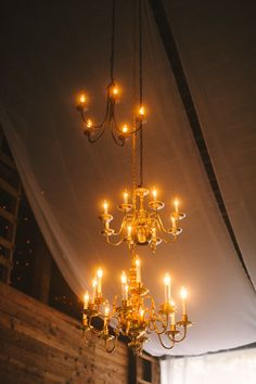 Three is better than one. Layered chandeliers - Formal Barn Wedding - Rufflands Farm, Red Hook, NY Photography: Divine Light Photography - dlweddings.com @Divine Light Photography