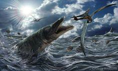 Mosasaurus and pteranodon by Davide Bonadonna : Classification Règne Animalia Embranchement Chordata Classe Reptilia Ordre Squamata Sous-ordre Sauria Famille † Mosasauridae Sous-famille † Mosasaurinae