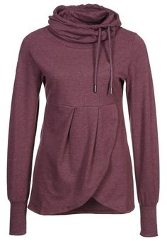 Best staff for jogging! This turtleneck sweatshirt is detailed with side drawstring&pleated bottom. Take it at Cupshe.com .