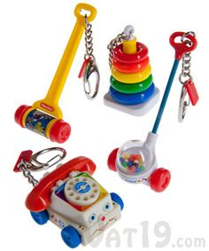 Fisher Price Toy Keychains: Miniature Chatter Phone, Corn Popper, and more. I so want the Chatter Phone. I played with that thing at every dentist, doctor and salon appointment I went with my mom to.