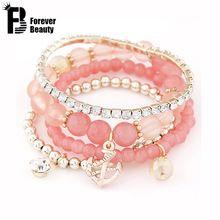 2015 cool summer boemia caramella perle di gelatina di ancoraggio di cristallo braccialetti di fascino braccialetti a più strati in rilievo elastico accessori donna(China (Mainland))