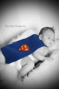 Crochet Superman Newborn Baby Cape by KestersKreations on Etsy