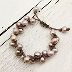 Pink Pearl and Leather Bracelet Knotted w/ Natural Fresh by byjodi 125.00