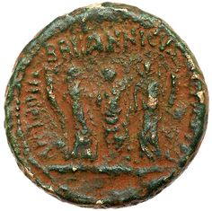 Judaea, Herodian Kingdom, Pre-Royal Coins of Agrippa II. Claudius, with Britannicus . Caesarea Paneas, before 49 CE. TI CLAVDIVS CAESAR AVG P M TR P IMP P P, laureate head of Claudius left. ANTONIA BRITANNICVS OCTAVIA, Britannicus standing facing, flanked by Antonia, on left, and Octavia, on right, each holding cornucopiae. TJC 350; RPC 4842. Green patina with earthen highlights, roughness throughout but clearly identifiable as such. From the Dr. Patrick Tan Collection. / MAD on Collections…