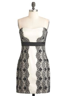 Amaretto Creme Dress by Max and Cleo - Black, White, Lace, Formal, Party, Luxe, Strapless, Mid-length, Empire