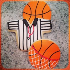 Sugar cookie basketballs & referee jersey