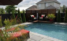 Piscine originale   Martel Paysagiste Outdoor Spaces, Outdoor Living, Outdoor Decor, Limestone Pavers, Backyard Plan, Dream Pools, Pool Decks, Pool Houses, Swimming Pools