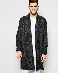 ASOS Loungewear Super Longline Cardigan In Boucle Fabric