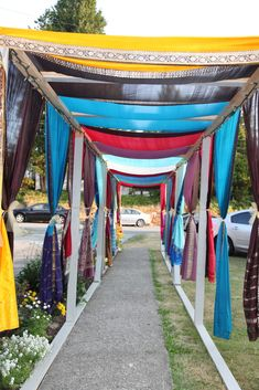 Indian wedding - outdoor walkway at wedding house decorated using old sari's and outdoor lights. - maybe for the vidhi? Wedding Entrance, Wedding Stage, Home Wedding, Budget Wedding, Trendy Wedding, Summer Wedding, Wedding Reception, Wedding Walkway, Reception Entrance
