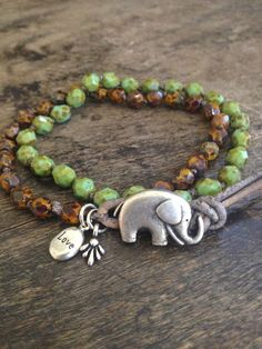 Good Luck Elephant Crochet & Leather Multi by TwoSilverSisters