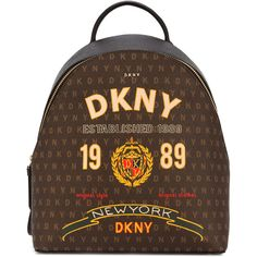DKNY logo print backpack ($293) ❤ liked on Polyvore featuring bags, backpacks, brown, multi colored backpacks, backpack bags, knapsack bag, dkny and dkny bags