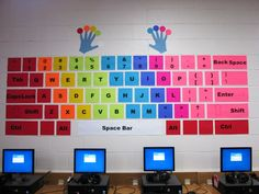 Wall keyboard - cardstock and hot glue! - Teaching Technology - Wall keyboard – cardstock and hot glue! Elementary Computer Lab, Computer Lab Lessons, Computer Lab Classroom, Computer Teacher, Computer Basics, Technology Lessons, Teaching Technology, Elementary Schools, Computer Keyboard