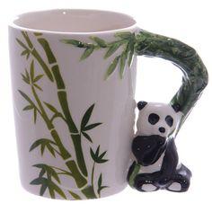 Coffee Mug Ceramic Jungle Cup Cute Panda Bamboo by getgiftideas