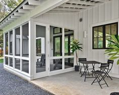 Modern farmhouse sunroom and patio space