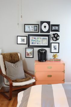 Coffee station in Master Bedroom = GENIUS! via Simple Stylings Blogger Styling Home Tours: Favorite Room Edition