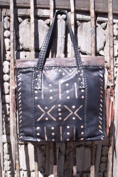 Deertanned cowhide with tribal Mudcloth design by Stacy Erickson Handbags.