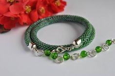 Luxury Handmade Jewelry Crochet-Rope beads crochet-Crochet beaded Necklace-Bead necklace-Handmade necklace-Green jewelry-Beadwork-Gift by JewelryShopCamomile on Etsy