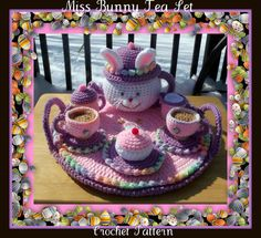 Miss Bunny Tea Set Crochet Pattern por craftsforangels en Etsy