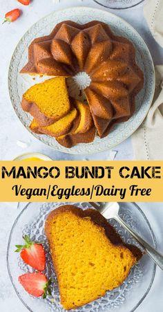 recipes cake Vegan mango bundt cake - this eggless mango cake is soft, moist, full of mango f. Vegan mango bundt cake - this eggless mango cake is soft, moist, full of mango flavour and so easy to make in just one bowl! Vegan Dessert Recipes, Vegan Sweets, Dairy Free Recipes, Vegetarian Recipes, Cooking Recipes, Healthy Recipes, Mango Recipes Vegan, Gluten Free, Juice Recipes