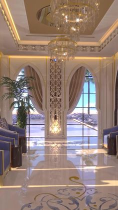 Modern Moroccan style majlis living room interior decorations for a luxury dream home in Dubai by Spazio Mansion Interior, Dream House Interior, Dream Home Design, Interior Design Living Room, House Design, Luxury House Plans, Luxury Homes Dream Houses, Modern Moroccan, Moroccan Style
