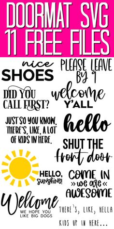 Get these 11 free doormat SVG files for your Cricut machine then make a funny doormat (or two) for your home! Cricut Mat, Svg Files For Cricut, Diy Decorations Tutorial, Cricut Tutorials, Cricut Ideas, Quick And Easy Crafts, Vintage Typography, Vintage Fonts, Funny Doormats