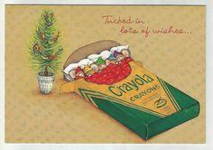Mice tucked into a Crayola Crayon box waiting for Santa! (1981)