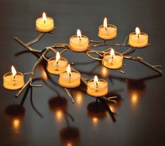 Aluminum Tree Branch Tea Light Holder  - Shine a little light on me! This pretty tea light holder is a low centerpiece for table or mantle.  Link    #Christmas