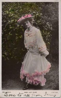 Vintage-RPPC-Color-Tinted-Postcard-of-Actress-Miss-Lily-Elsie-1905