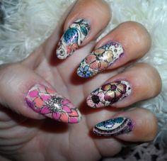 Made my own nail decals! Rita Korn, Hair Affair, Fort Wayne, IN 5/30/16
