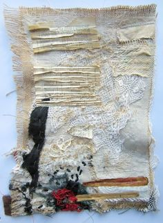 stitch therapy ~ old papers and books and threads and ponderings and cut it up and put it back together and see what happens ~ Emma Parker Textile Texture, Textile Fiber Art, Textile Artists, Texture Art, Art Fibres Textiles, Pochette Surprise, Sculpture Textile, Creative Textiles, Quilt Modernen
