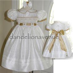 Dandelion Avenue: Ivory and Gold Smocked Silk Flower Girl Dress!