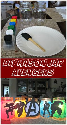Mason Jar Avengers Celebrate the release of MARVEL's The Avengers Age of Ultron with these fun DIY mason jar avengers.Celebrate the release of MARVEL's The Avengers Age of Ultron with these fun DIY mason jar avengers. Marvel Baby Shower, Superhero Baby Shower, Avenger Party, Avenger Birthday Party Ideas, Birthday Ideas, 4th Birthday Parties, Boy Birthday, Wedding Party Shirts, Party Wedding