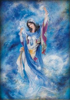 <3<3 Morning Star 1988<3<3 - Paintings by Ostad Mahmoud Farshchian ( This masterpiece embodies the heavens and cosmos. The young woman is elegantly floating though a universe of dreams, and dancing with the stars as they flow from within her and around her. Look closely and you can see the details of jewels and stars produced by the strokes of the genius artist.