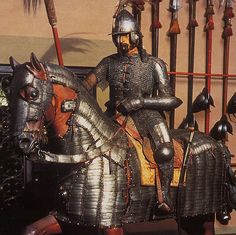 Ottoman mail and plate armor for horse and soldier, century armor as worn… Horse Armor, Arm Armor, Body Armor, Medieval Knight, Medieval Armor, Turkish Art, Turkish Decor, Empire Memes, Empire Quotes