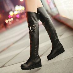 Womens Boots | Lovely Black PU Round Closed Toe Wedge Low Heel Boots - Hugshoes.com