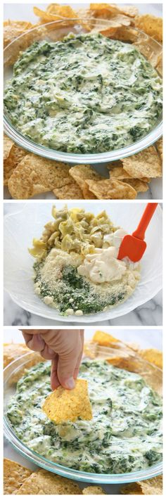 Hot Artichoke and Spinach Dip - tastes just like the restaurant style dip. http://www.the-girl-who-ate-everything.com