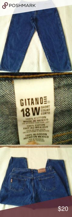 """Vintage GITANO BlueJea High Waisted vintage Gitano blue jean in very used condition. Tag Size 18W Short Waist 17""""across laying flat top of hip bone to hip bone and front rise 13"""" inseam 28"""" Gitano Jeans Straight Leg"""